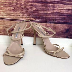 Manolo Blahnik Nude Leather Ankle Strappy Heels